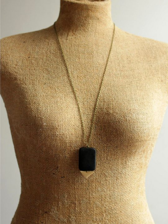 long black stone necklace with triangle pendant