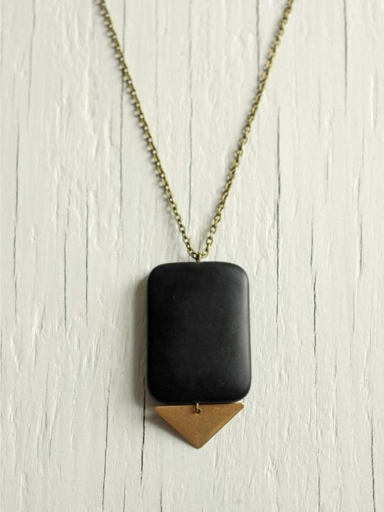 matte black stone necklace
