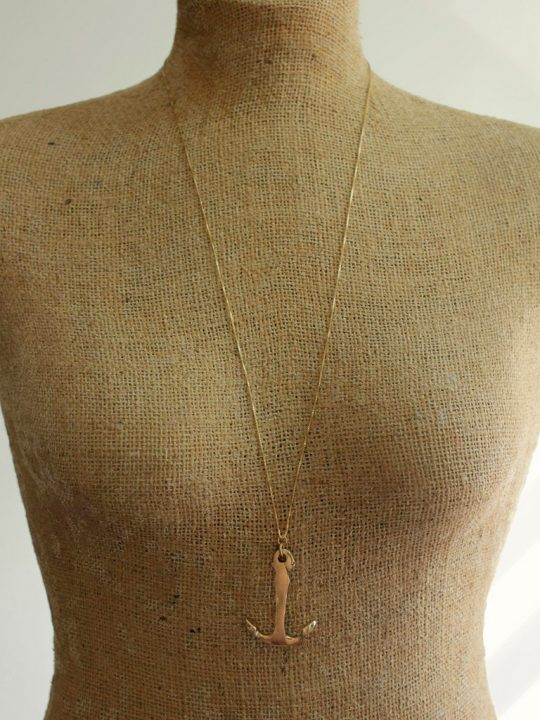 long gold anchor necklace