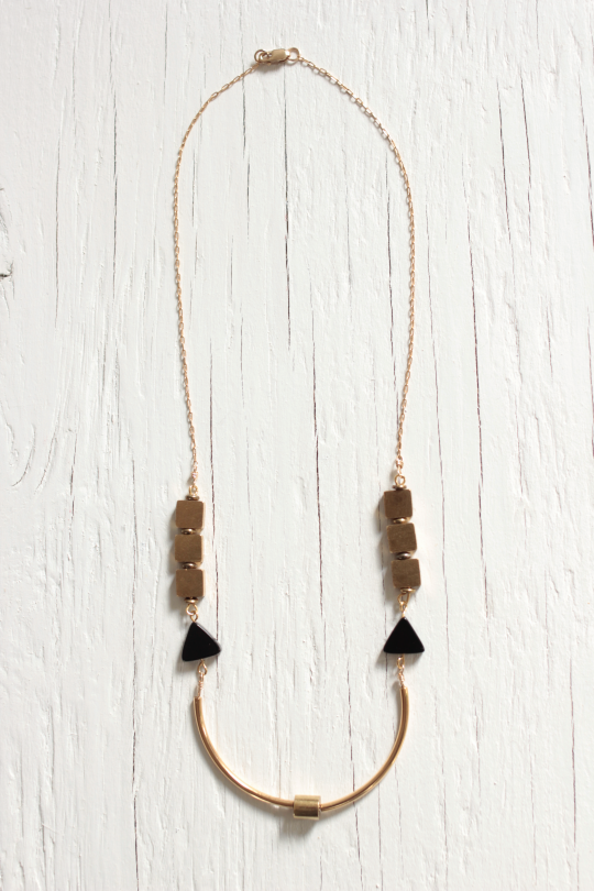 Collar necklace features brass components and 14 karat gold filled chain and clasp
