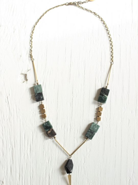 Statement necklace featuring 8 square green marble stones, a black tourmaline stone and brass components