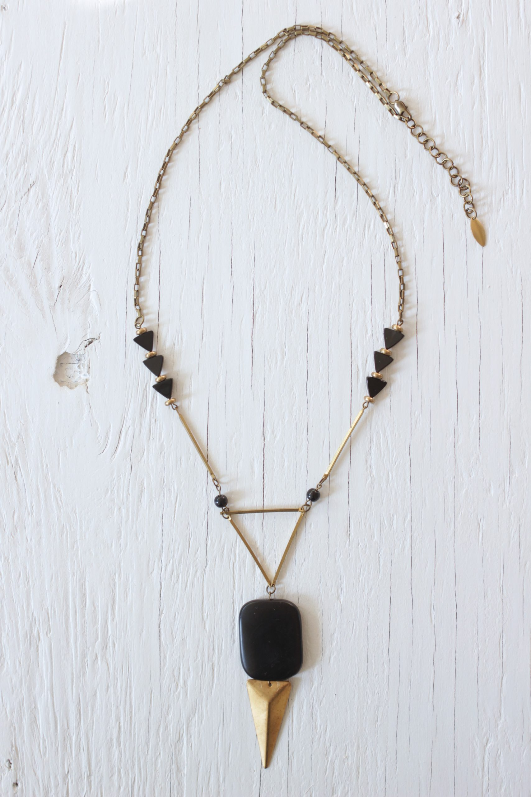 Off Center Geometric Beaded Necklace Black Beaded Necklace Triangle Necklace