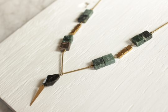 Art deco inspired necklace with black tourmaline and green marble stones