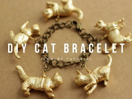 DIY Gold Leaf Cat Bracelet