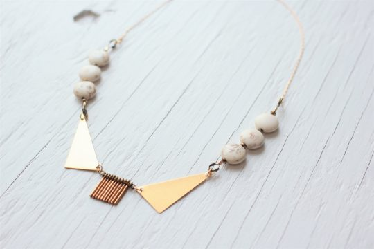 Gold Collar Necklace with round white stones