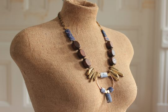 Chunky statement necklace measures 27 inches long