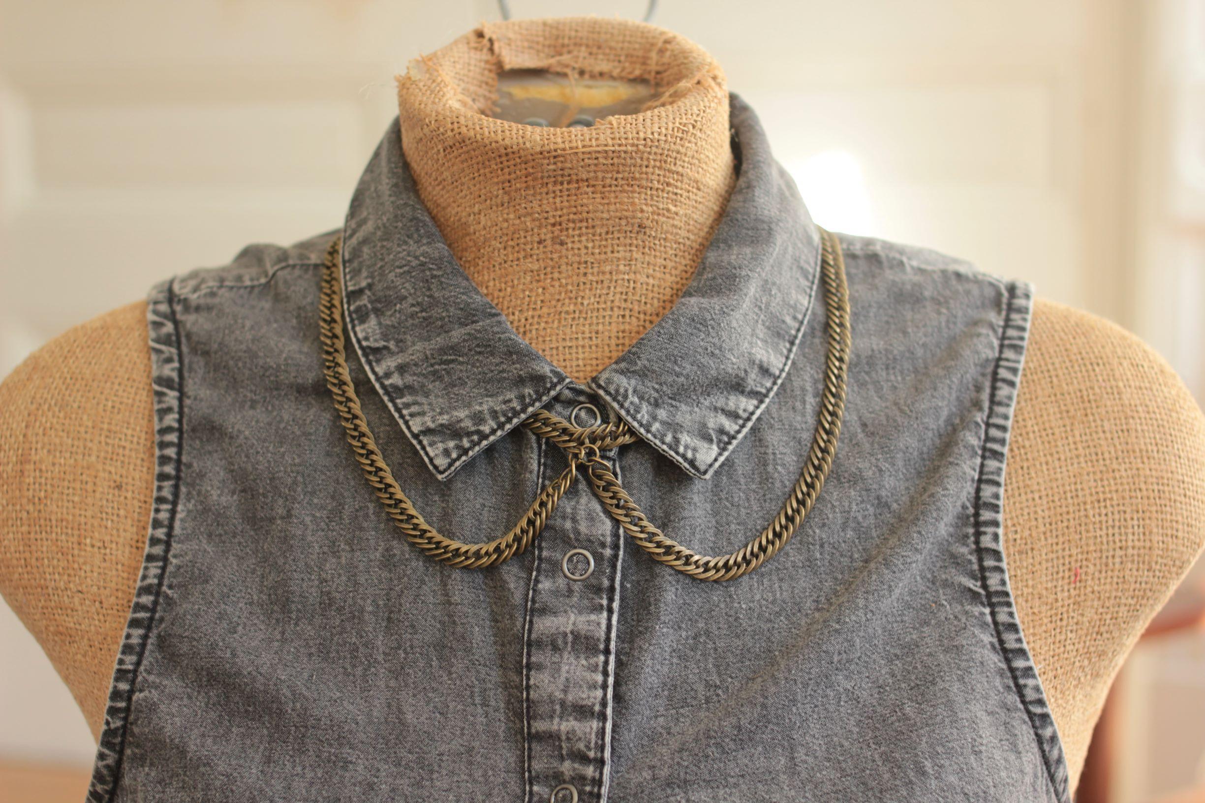 peter pan collar necklace gray denim smaller