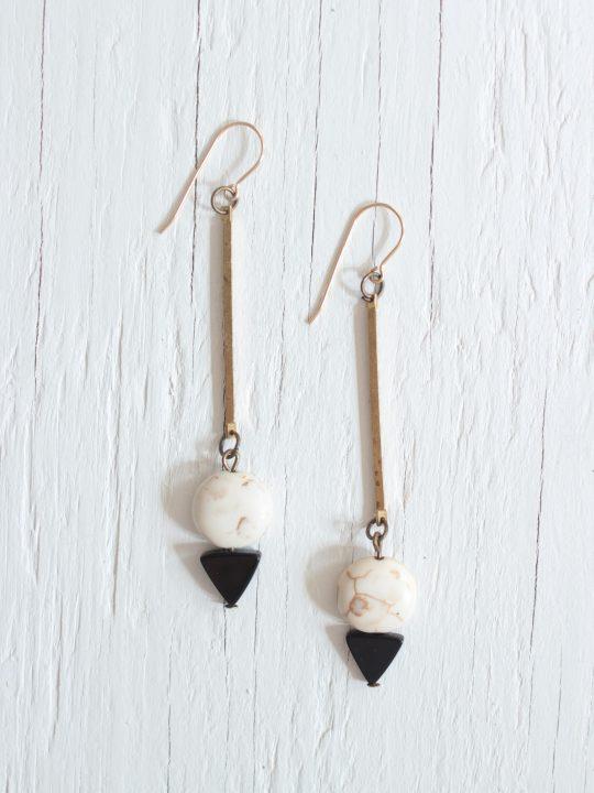 Black onyx and white earrings