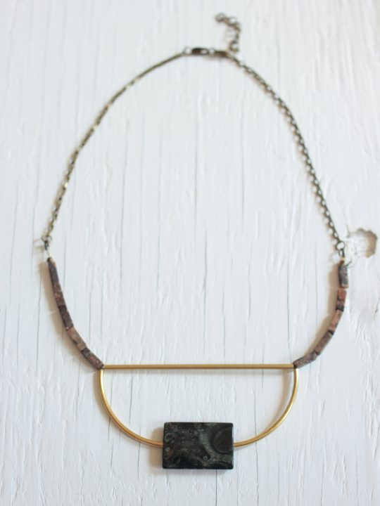 Green stone bib necklace with brass bars